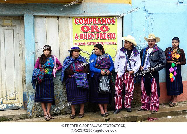 People in traditional dress in Todos Santos, Guatemala, Central America