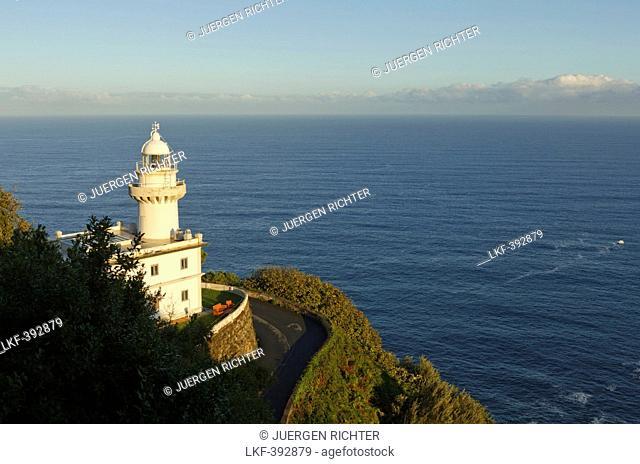 Lighthouse in the sunlight, Monte Igeldo, San Sebastian, Donostia, Camino de la Costa, Camino del Norte, coastal route, Way of St