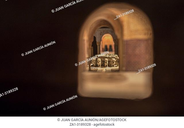 Cordoba, Spain - 2018, Sept 8th: Alhambra scale model. Lions fountain. Museum, Cordoba, Spain