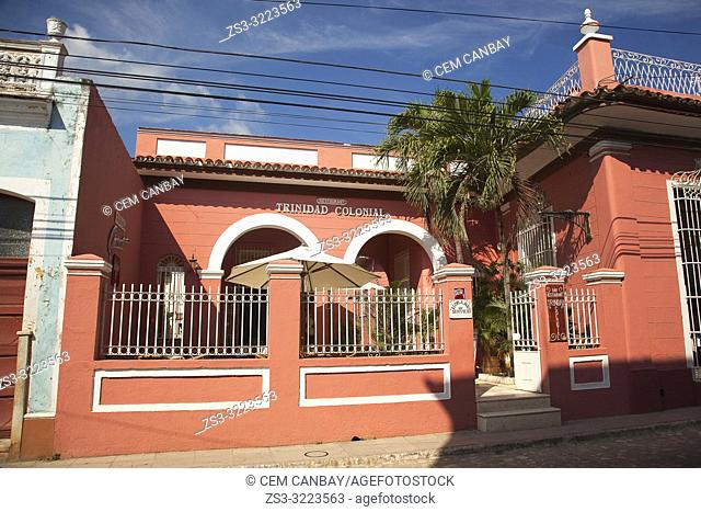 Colonial house used as a restaurant in the town center, Trinidad, Sancti Spiritu Province, Cuba, West Indies, Central America