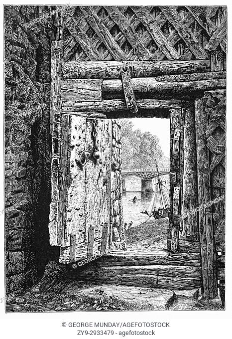 1870: A view from the gate of Chepstow Castle in Monmouthshire, Wales. Chepstow Castle in Monmouthshire, Wales is the oldest surviving post-Roman stone...