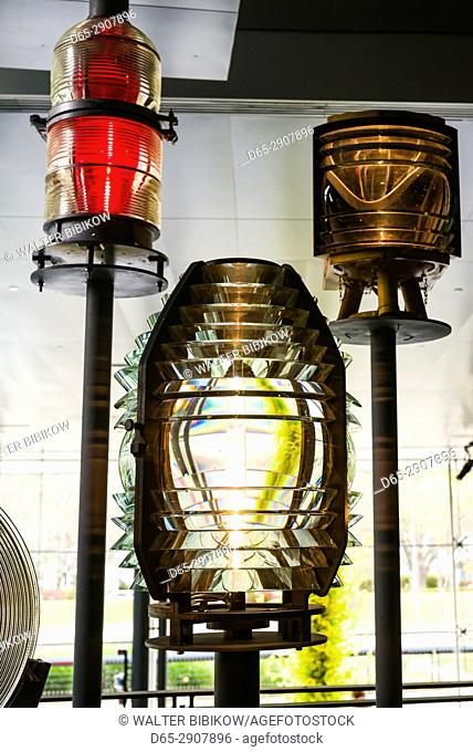USA, New York, Finger Lakes Region, Corning, Corning Museum of Glass, fresnel lighthouse lenses