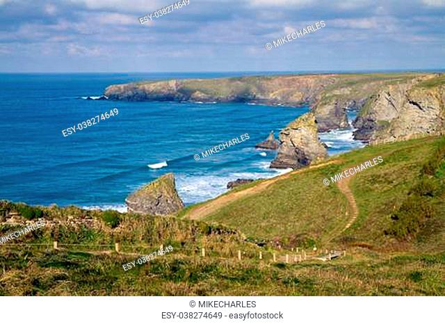 Carnewas and Bedruthan Steps North Cornwall England UK