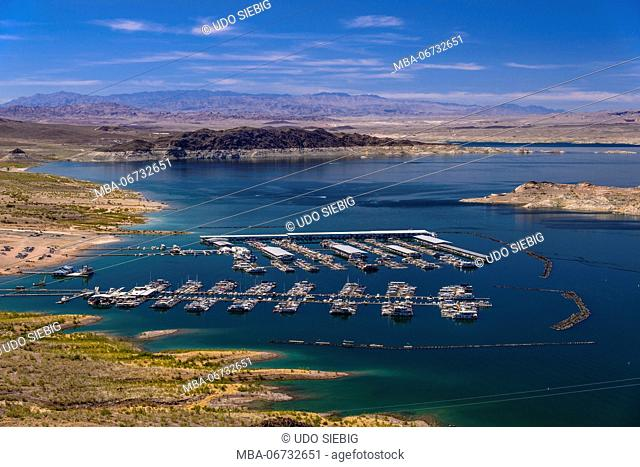 The USA, Nevada, Clark County, Boulder city, Lake Mead National Recreation Area, Boulder Basin, Hemenway Harbour, view from the Lakeview Overlook