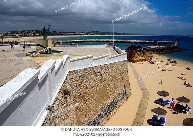 Europe, Atlantic Ocean, Portugal, Southern Portugal , Algarve region , Faro district , Lagos, panoramic view of coast in city center