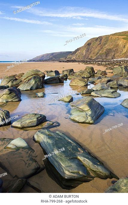 Rocks and rockpools on the beach at Sandymouth Bay, North Cornwall, England, United Kingdom, Europe