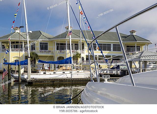 Yachts docked at Naples Sailing and Yacht Club, Naples, Florida, USA