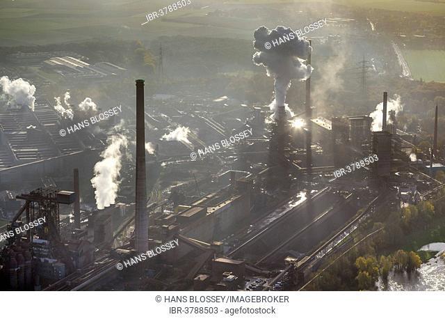 HKM, Mannesmann Blasstahlwerk 1, basic oxygen steelmaking plant, aerial view, Rheinhausen, Duisburg, Ruhr area, North Rhine-Westphalia, Germany
