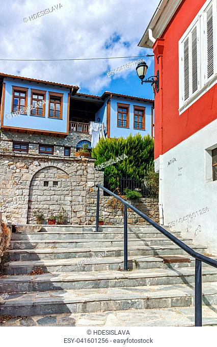 XANTHI, GREECE - SEPTEMBER 23, 2017: Typical street and old house in old town of Xanthi, East Macedonia and Thrace, Greece