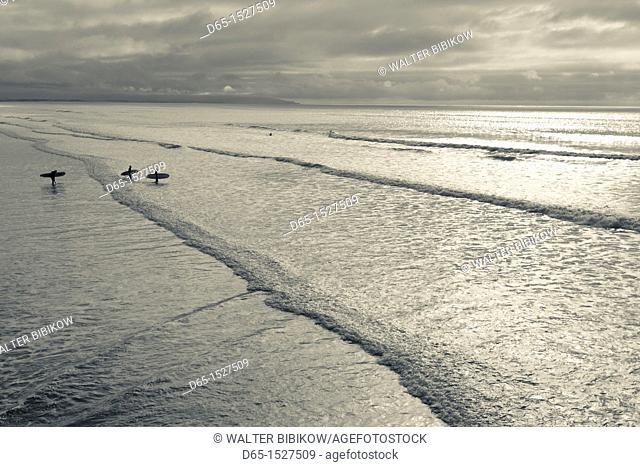 USA, California, Southern California, Pismo Beach, surfers