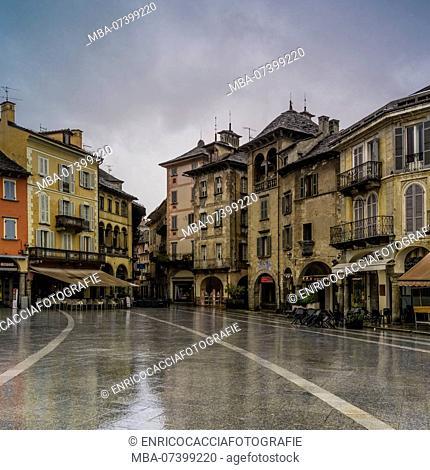 Piazza del Mercato in Domodossola, Piedmont, Italy