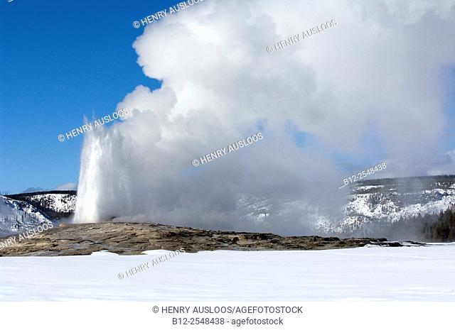 USA, Yellowstone National Park, Steam, Old Faithfull in winter