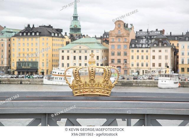 Golden Crown on Skeppsholm Bridge - Skeppsholmsbron (1861); Stockholm; Sweden