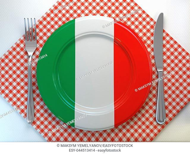 Italian cuisine or restaurant concept. Plate with flag of Italy anf knife and fork. 3d illustration