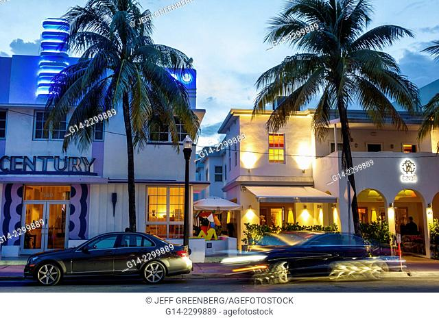 USA. Florida, Miami Beach, Ocean Drive, Century hotel and Cavalli, restaurant