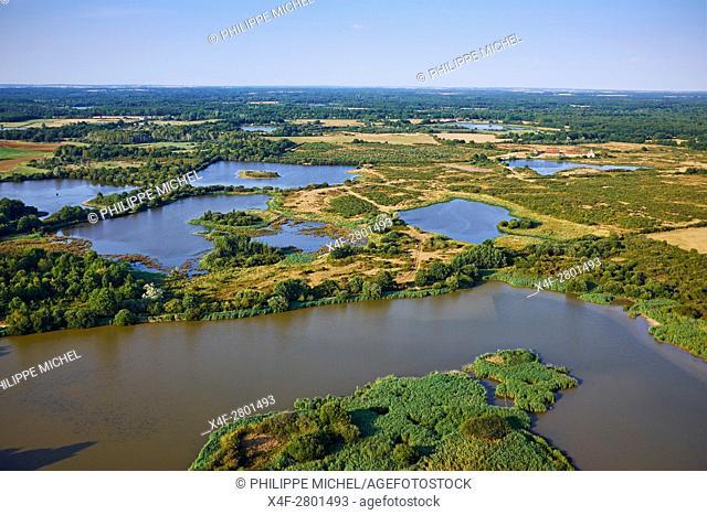 France, Indre (36), le Berry, Brenne, natural park, aerial view of the ponds, Mezières en brenne