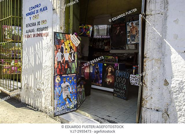 Shop in the historic center, Merida, Riviera Maya, Yucatan Province, Mexico, Central America