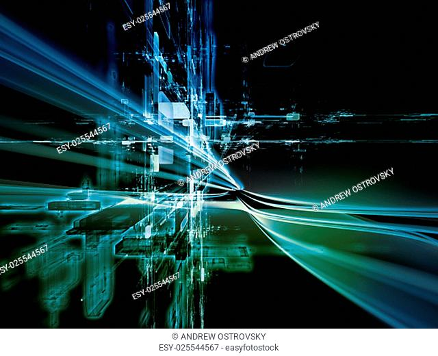 Toward Technology series. Interplay of light trails and fractal structures on the subject of science, education and technology