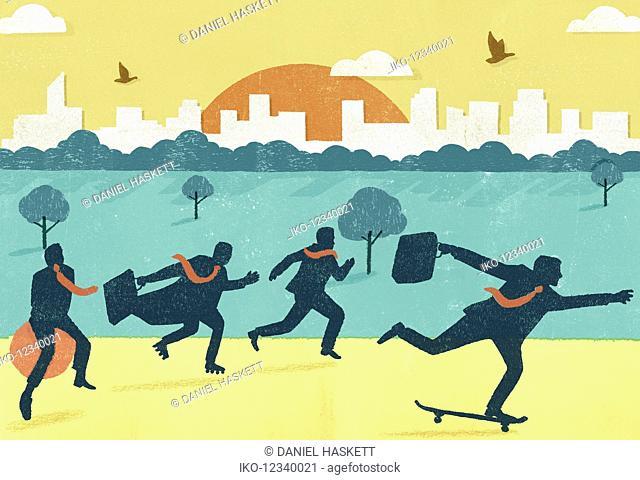 Businessmen in a hurry, running, skateboarding, roller skating and using space hopper