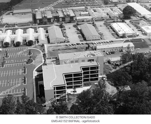 Aerial photograph of buildings at the National Institute for Occupational Safety and Health (NIOSH), 1970. Image courtesy CDC. ()