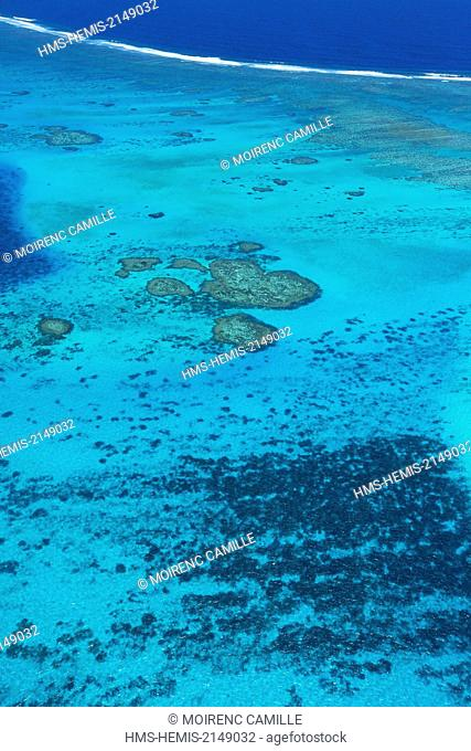 France, New Caledonia, Southern Province, Noumea, Grand Reef Abore Lagoon classified as a UNESCO World Heritage (aerial view)