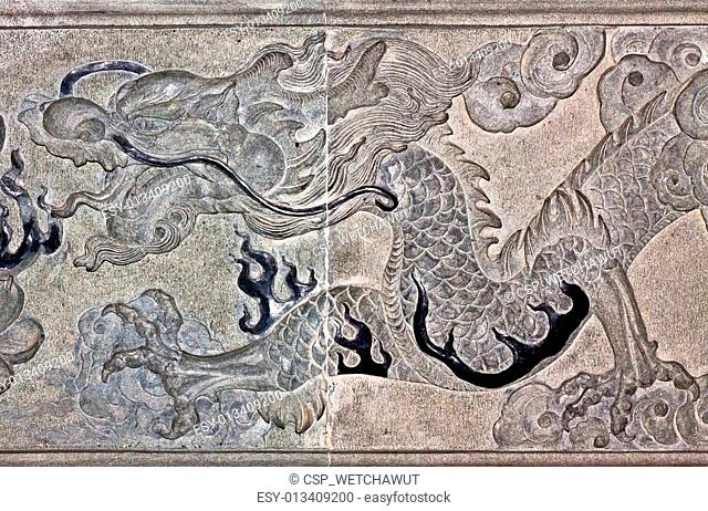 Dragon carve on wall expressing power and status in ancient China