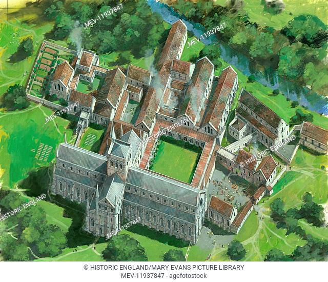 WAVERLEY ABBEY, Surrey. Aerial reconstruction of abbey site by Ivan Lapper