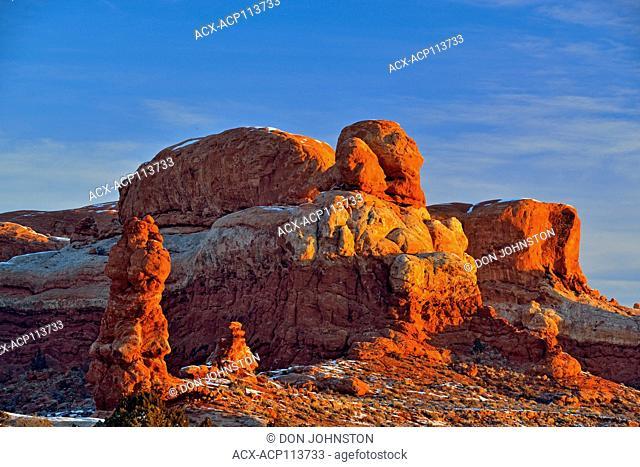 Sandstone pinnacles ina winter landscape, Arches National Park, Utah, USA