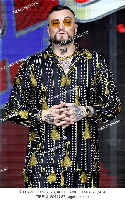Gue' Pequeno during the photocall of tv show The voice of Italy, Milan, ITALY-18-04-2019