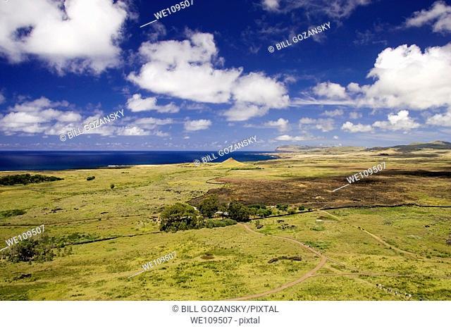 View from top of Rano Raraku - Easter Island, Chile