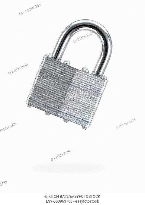 A metal padlock isolated against a white background