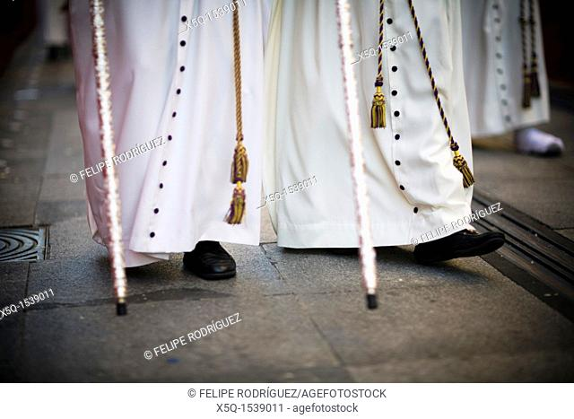 Feet of penitents, Holy Week, Seville, Spain