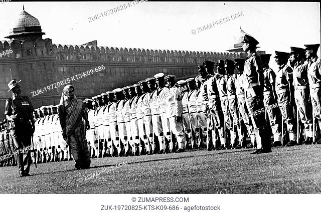 Aug. 25, 1972 - Pana, India - First and only female Prime Minister of India, INDIRA GANDHI, inspecting the guard of honour at the palace