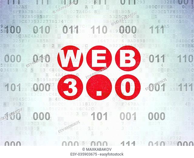 Web development concept: Web 3.0 on Digital Data Paper background