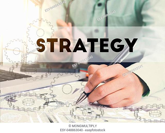 Businessman writing financial strategy graph report on desk office. concept finance and banking website web page