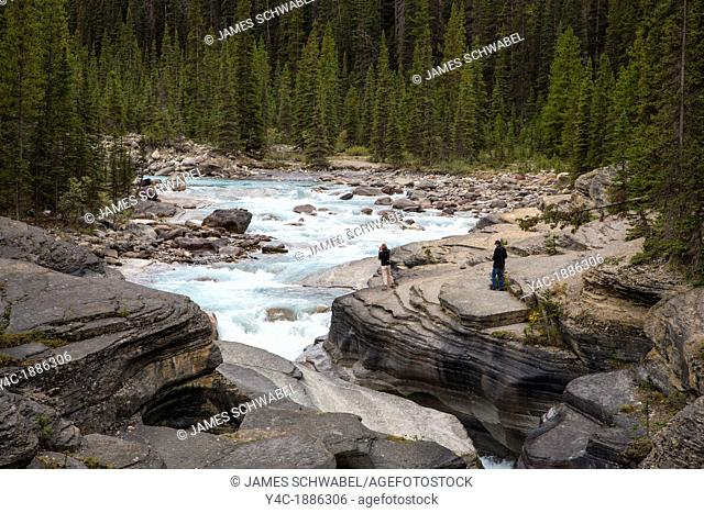 Mistaya Canyon along the Icefields Parkway in Banff National Park in Alberta Canada in the Canadian Rockies
