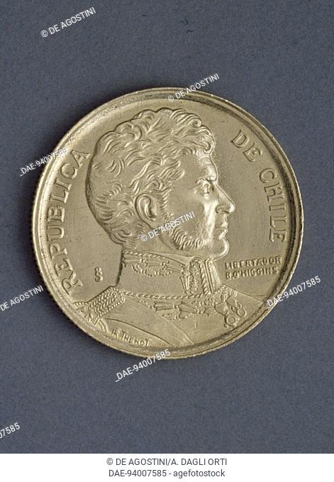 10 pesos coin, 1990, obverse, Bernardo O'Higgins Riquelme (1778-1842). Chile, 20th century