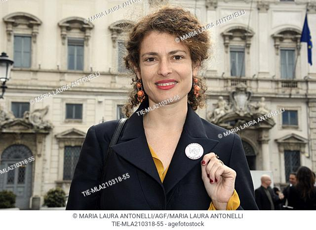 """Ginevra Elkann with the brooch """""""" Dissenso comune """""""" a poster signed by 124 actresses and entertainment workers against sexual harassment arrives at Quirinale..."""