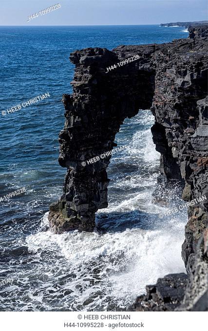 USA, Vereinigte Staaten, Amerika, Hawaii, Big Island, Volcanoes National Park, UNESCO, World Heritage, Chain of Craters Road, Sea Arch