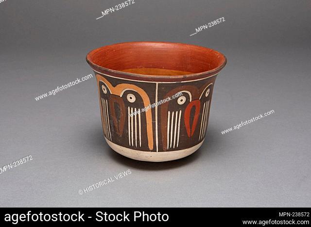 Bowl Depicting a Repeating Abstract Motif, Possibly Representing Owls - 180 B.C./A.D. 500 - Nazca South coast, Peru - Artist: Nazca, Origin: Peru