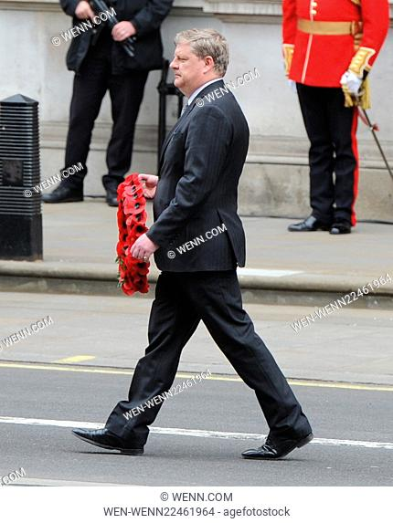 70th Anniversary of VE Day Britain , VICTORY IN EUROPE DAY MAYOR OF LONDON DEPUTY PRIME MINISTER PHIL LAYING WREATH REMEMBERING REMEMBRANCE PAYING RESPECTS...
