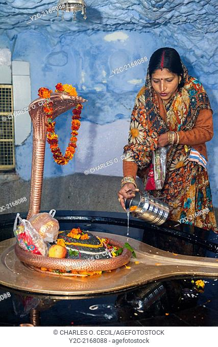 India, Dehradun. Hindu Indian Woman Making an Offering to Sheshnag, the Divine Five-headed Serpent in Hindu Mythology, at Tapkeshwar Hindu Temple