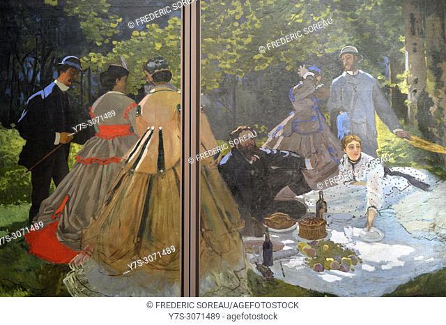 Lunch on the Grass, Le déjeuner sur l'herbe, Claude Monet, (1840-1925), Musee d'Orsay, Orsay Museum, Paris, France, Europe