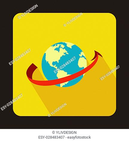 Airplane flying around earth icon in flat style isolated with long shadow