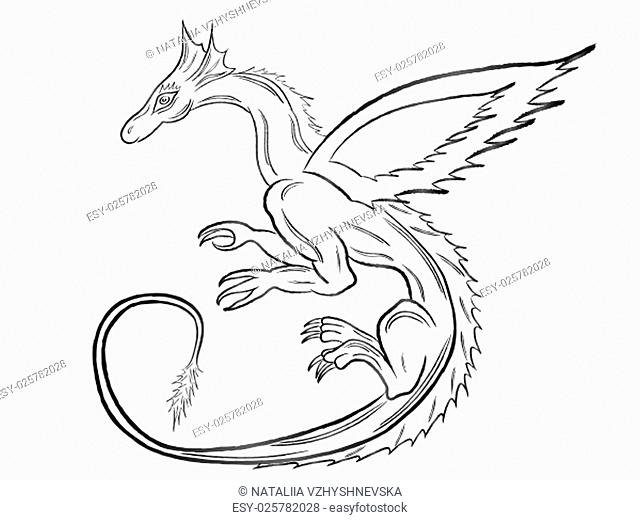 Black dragon during the flight isolated on white background. Hand drawing vector illustration