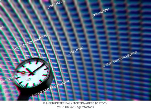 Detail of the roof, the station concourse with a clock, Gare de Liège-Guillemins railway station, Liege, Wallonia, Belgium, Europe