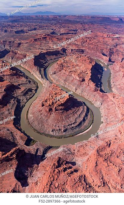 Aerial View Colorado River, Canyonlands National Park, Utah, USA