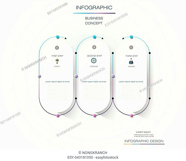 Vector Infographic label design with icons and 3 options or steps. Infographics for business concept. Can be used for presentations banner, workflow layout