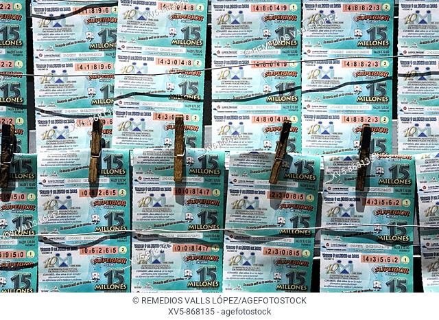 Mexico.Aguascalientes. Lottery game tickets