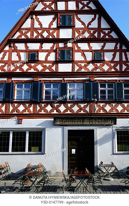 Facade of half-timbered house at Sattlertorstrasse, beer bar at ground level, historic part of Forchheim, Forchheim, Franconian Switzerland, Upper Franconia